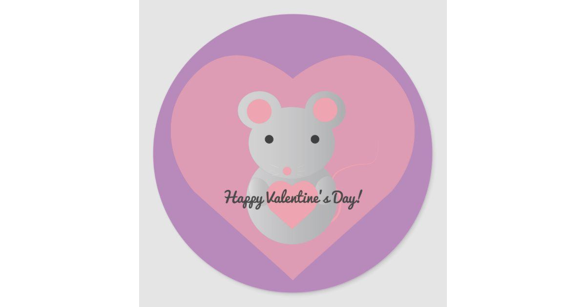 Cute Mouse Holding A Heart Classic Round Sticker Zazzle Com In 2020 Cute Mouse Valentines Happy Valentines Day