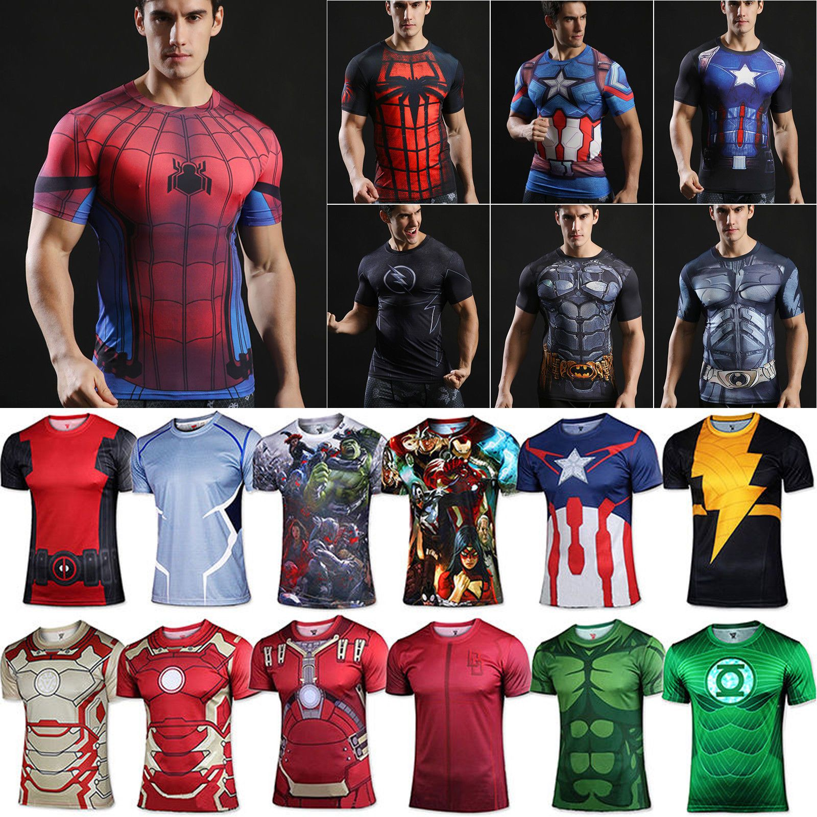 Men 3D Sports T-shirt Superhero Athletic Fitness Compression Gym Jersey Tops Tee