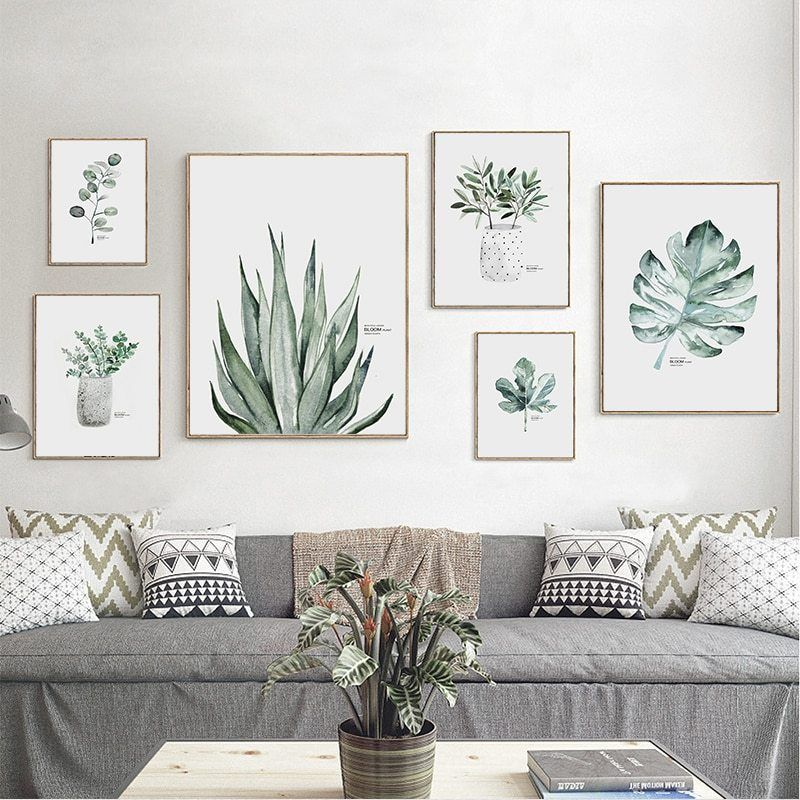 Simple Watercolor Vase Green Plant Art Poster Wall Art Print Canvas Painting Picture Modern Home Living Room Decoration Custom