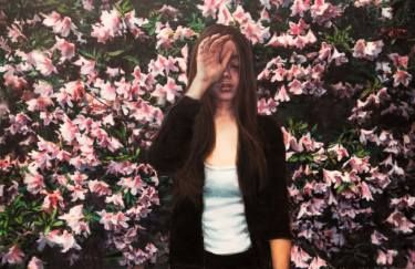 """Saatchi Art Artist Zhongwen Yu; Painting, """"The time passed by, I do not know tomorrow I still beauty like flowers"""" #art"""