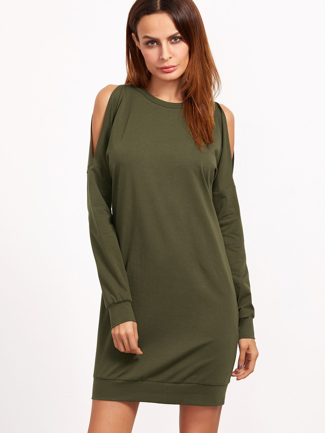 Buy it now. Olive Green Open Shoulder Sweatshirt Dress. Green Casual Cotton Cold Shoulder Long Sleeve Shift Short Plain Fabric has some stretch Spring Fall Sweatshirt Dresses. , vestidoinformal, casual, camiseta, playeros, informales, túnica, estilocamiseta, camisola, vestidodealgodón, vestidosdealgodón, verano, informal, playa, playero, capa, capas, vestidobabydoll, camisole, túnica, shift, pleat, pleated, drape, t-shape, daisy, foldedshoulder, summer, loosefit, tunictop, swing, day, off...