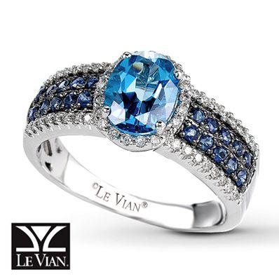 Le Vian 174 Diamond Natural Sapphire Amp Ocean Blue Topaz Ring