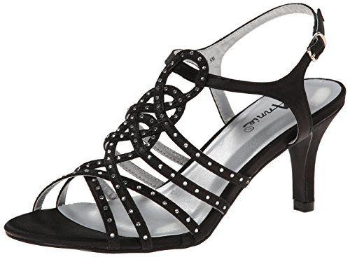 Annie Shoes Women's Lax Sandals, Black, 7 WW US