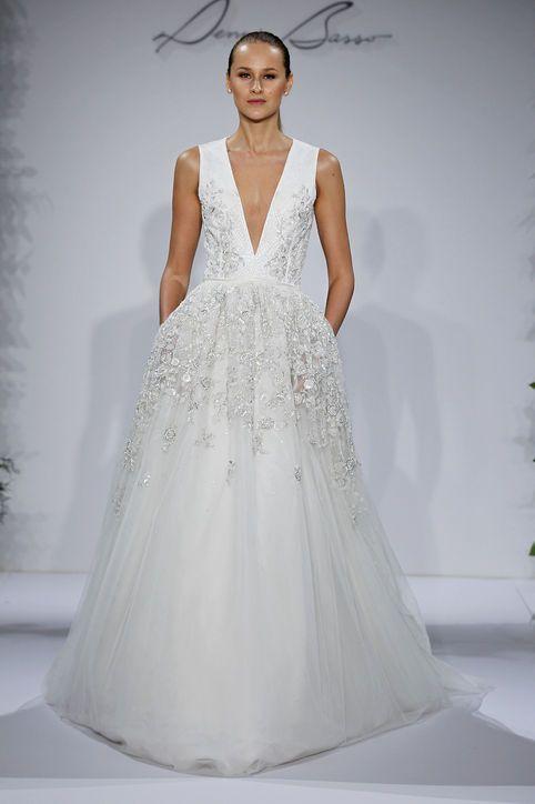 Dennis Bo Low Cut Wedding Dress