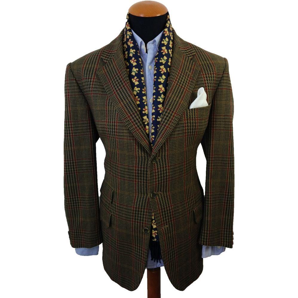 Men's Austin Reed Tweed Wool Blazer 42R Glen Plaid Sport