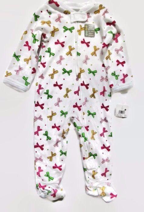 7e3a1d862 Baby Girl Footed Sleeper Ribbon Design 2 Way Zipper Sleep And Play ...