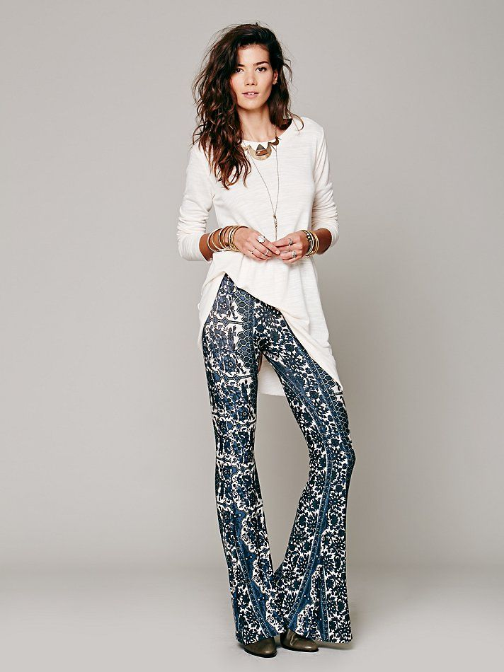 b384f3d2d8ded Novella Royale Border Print Bell Bottoms at Free People Clothing Boutique