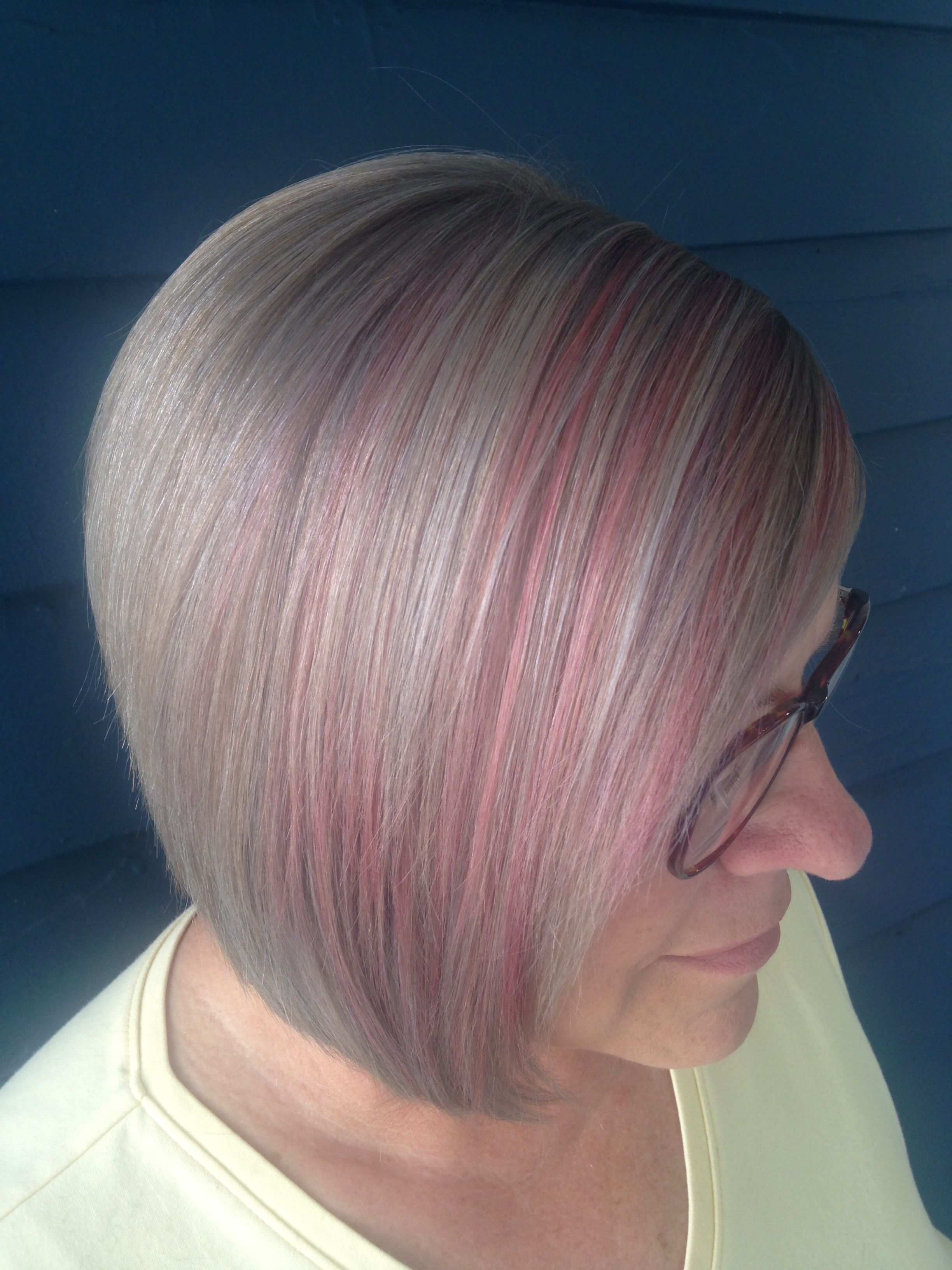 Candy Pink Highlights Silver Grey Hair Hair Pinterest Silver