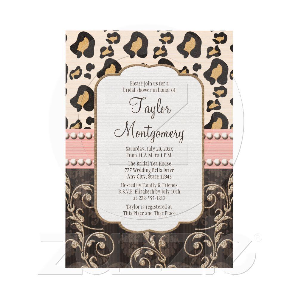Pink Pearl Leopard Print Bridal Shower Invitations From Zazzle