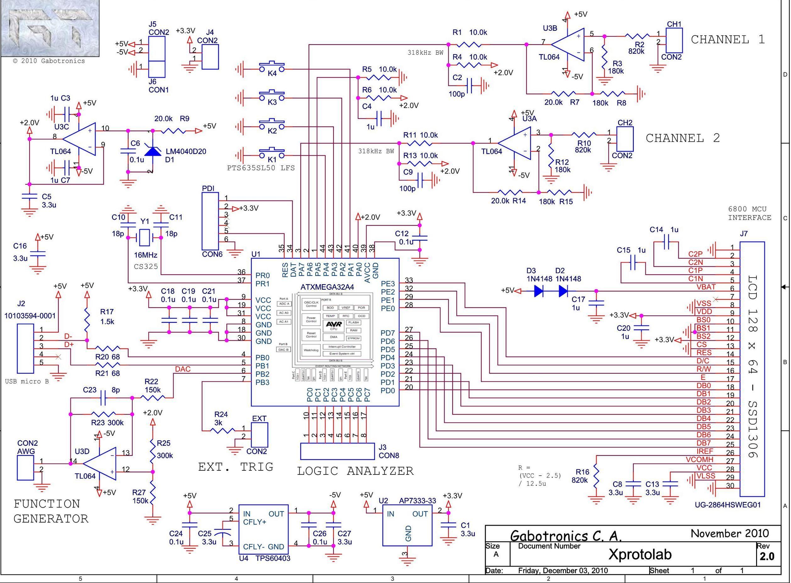 Schematic Diagram: mixed signal oscilloscope Xprotolab on ATXMEGA32 | tech•ie | Electronics