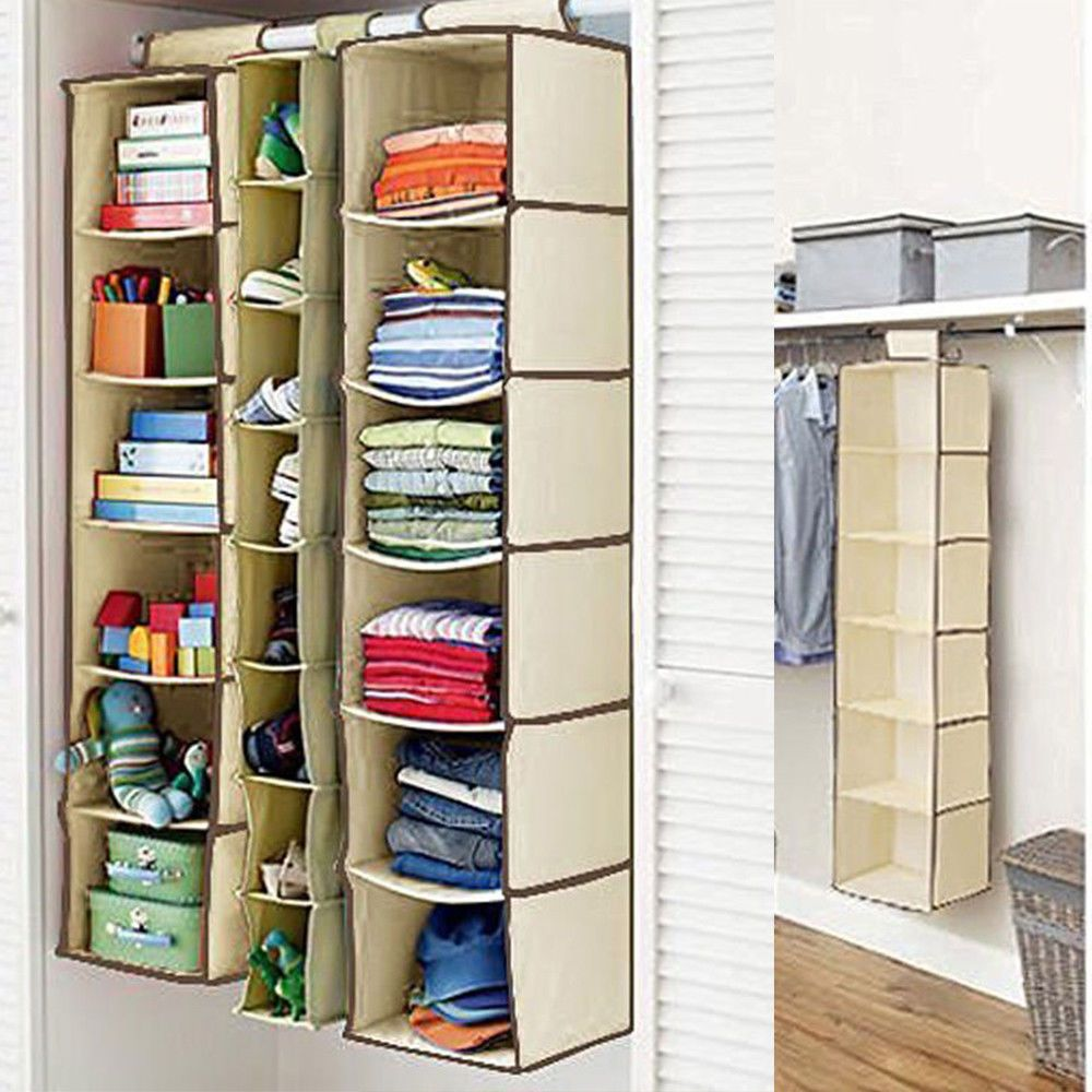 8 65 Hanging Garment Organiser Wardrobe Room Storage Shoe Clothes 4 6 Section Shelves Ebay Home Garden Closet Clothes Storage Wardrobe Room Storage