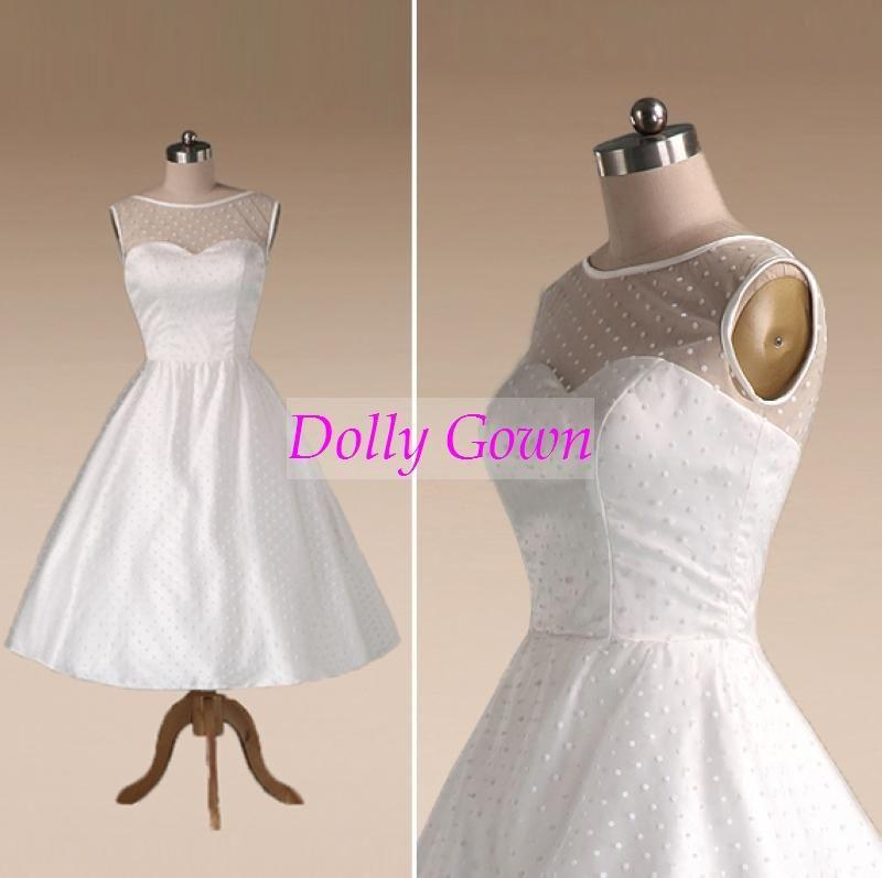 1950s Polka Dotted Vintage Wedding Dress Tea Length with Satin ...