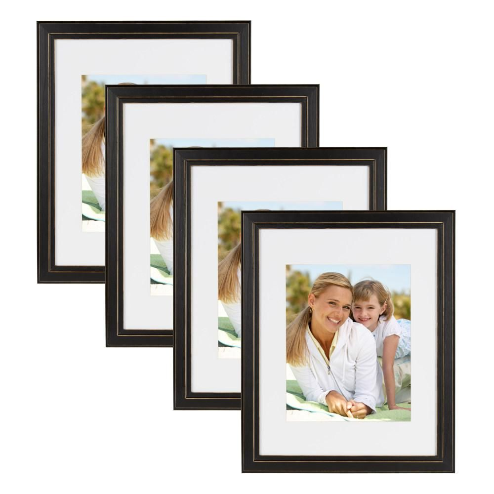 Designovation Kieva 11 In X 14 In Matted To 8 In X 10 In Black Picture Frame Set Of 4 Brown Picture Frames Picture Frame Sets Picture On Wood
