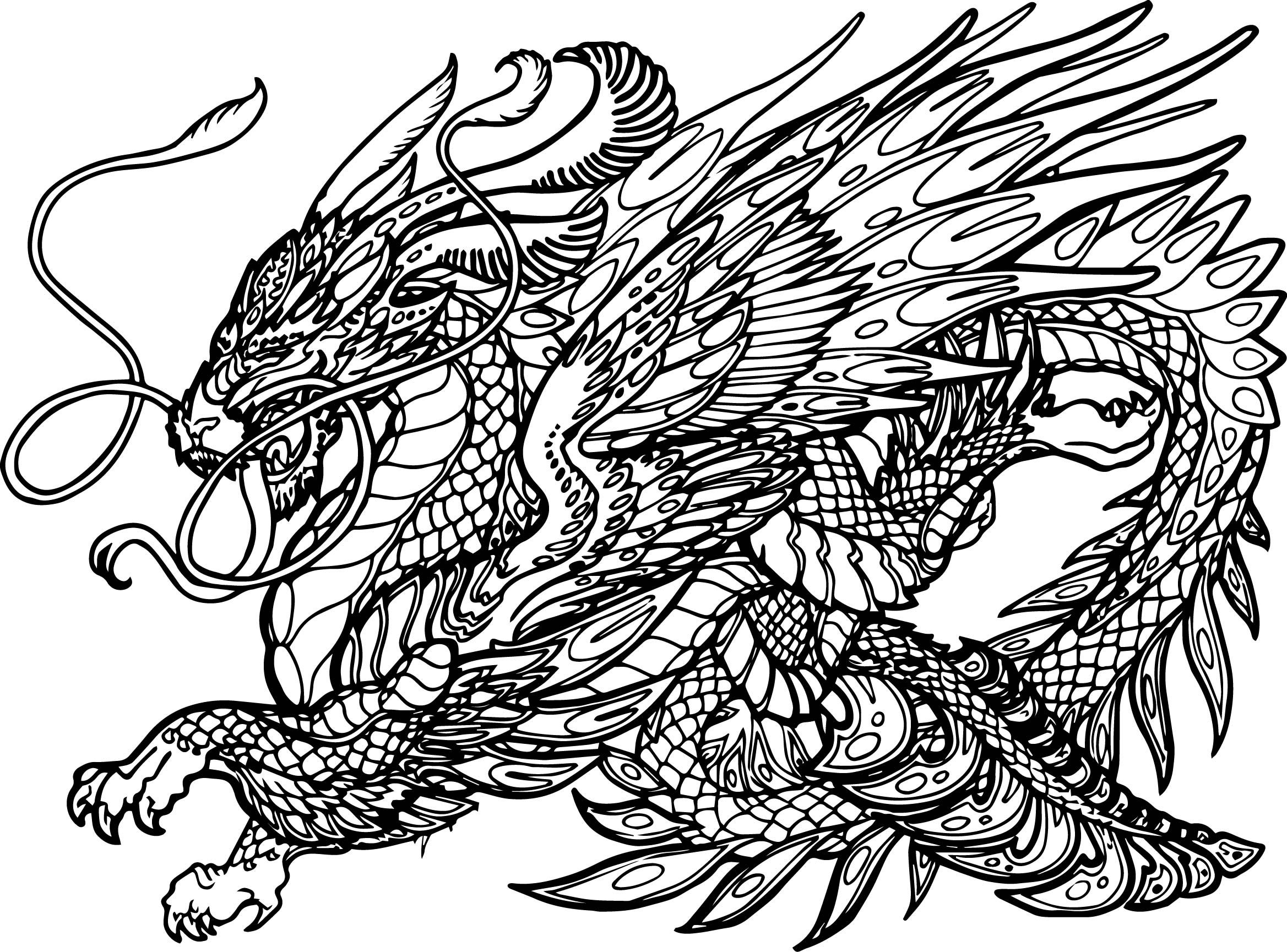 Nice Hydra Dragon Creature Coloring Page Coloring Pages