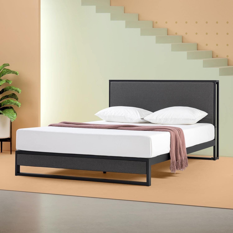 Christina Upholstered Platform Bed Frame with Headboard
