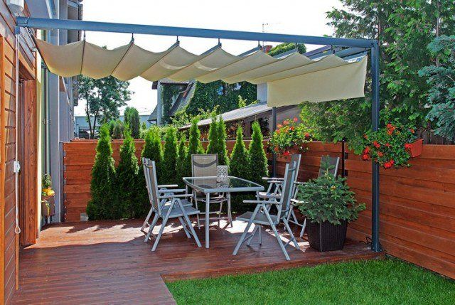 Protection solaire 55 idées pour la terrasse extérieur Pinterest - toile tendue pour terrasse