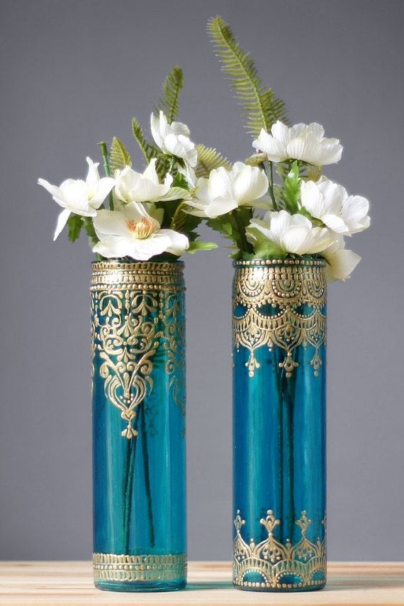bohemian bud vases tall cylinder glass aquamarine glass with gold designs aquamarines. Black Bedroom Furniture Sets. Home Design Ideas