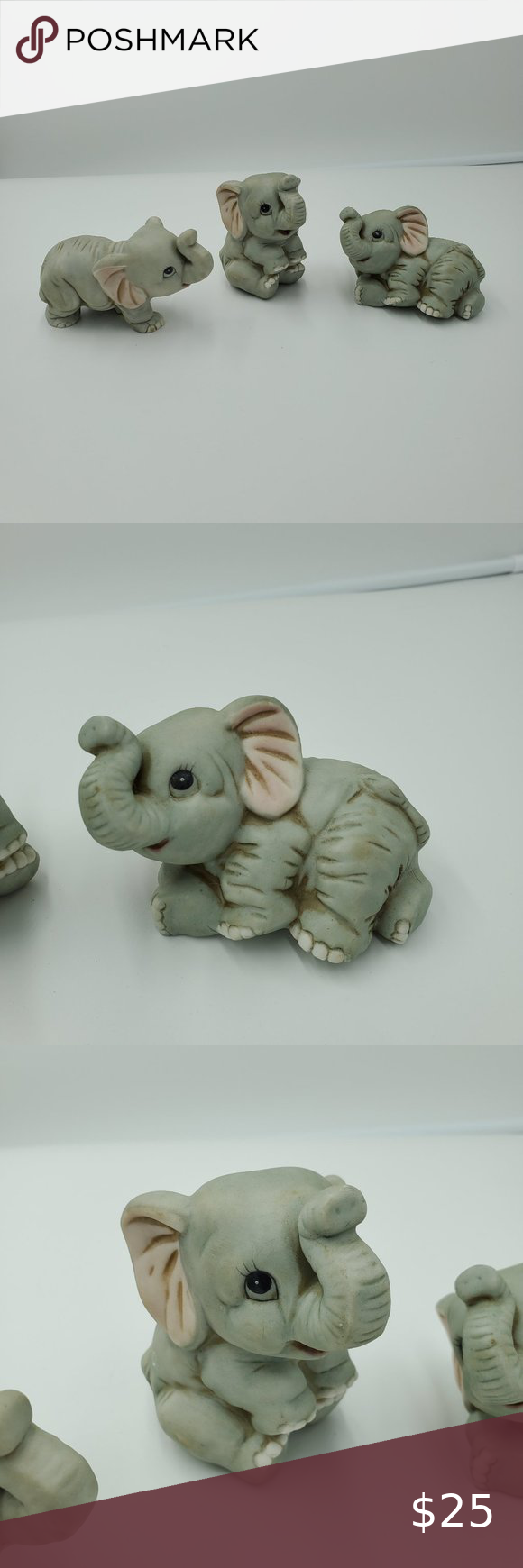 Vtg Homco 3 Ceramic Elephants Knick Knack Gray Vintage Homco  Home Decorations 3 Pieces Ceramic  Miniature Elephants Pre-Owned Excellent Condition Shipped with USPS Priority Mail Homco Accents Decor #knickknack