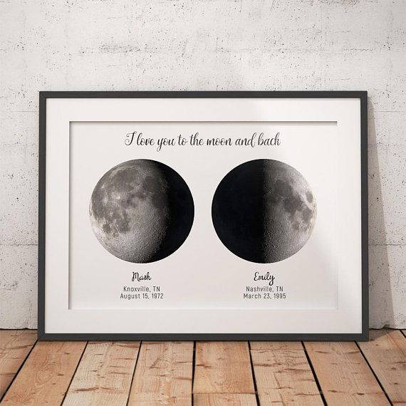 Custom 2 Moon, I Love You, Custom Moon Phase, First
