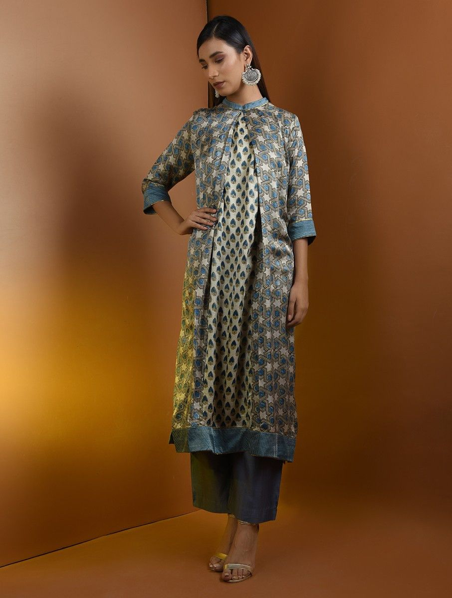 c4c049347a4b1 Beige-Blue Ajrakh Gajji Silk Kurta with Top Stitch and Lace Detail ...