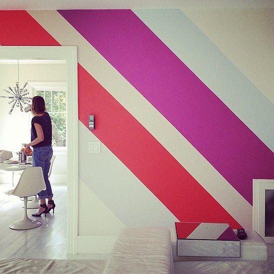 Slate Blue Diagonal Stripe Accent Wall: Show Us Your (Instagram) Stuff!