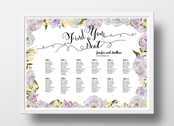 Printable Seating Chart Poster Template Editable By XoBSpoke