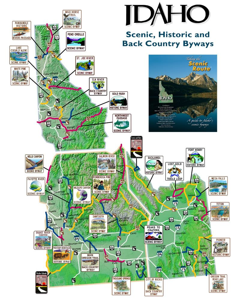 Map Of Idaho Scenic Byways This Is Idaho Pinterest Idaho - Idaho public lands map