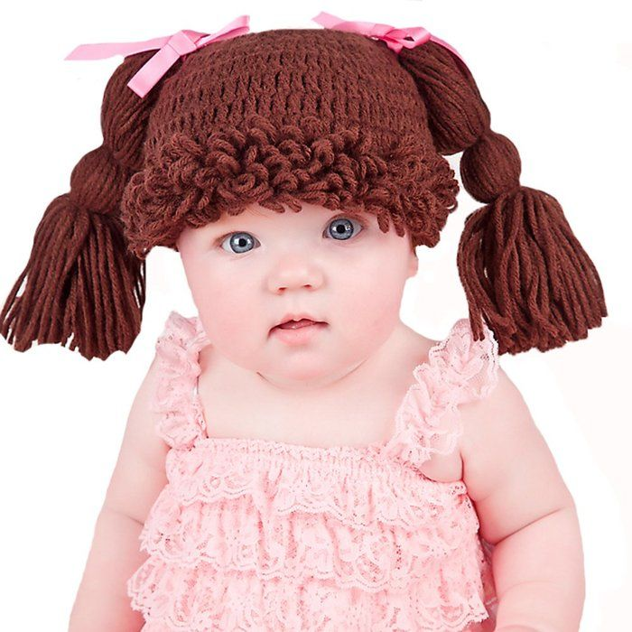 Melondipity s Brunette Doll Baby Hat with Pigtails and Fringe Bangs and  Pink Bows (newborn) c085ecc912f