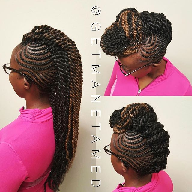 The #braidedmohawk is so versatile! Hair is fed into the braids for longevity of the style. This #protectivestyle is great for adults and children.  #marleytwists #feedinbraids #havanatwists #naturalhair #naturalhairstylist#braids#htx #naturalhairstyles#houstonhairstylist#braiddesigns#goddessbraids #goddessloces #houstonbraids #houstonbraider#blackhairomg  #naturalhairsalon#naturallyshesdope#islay#slayed