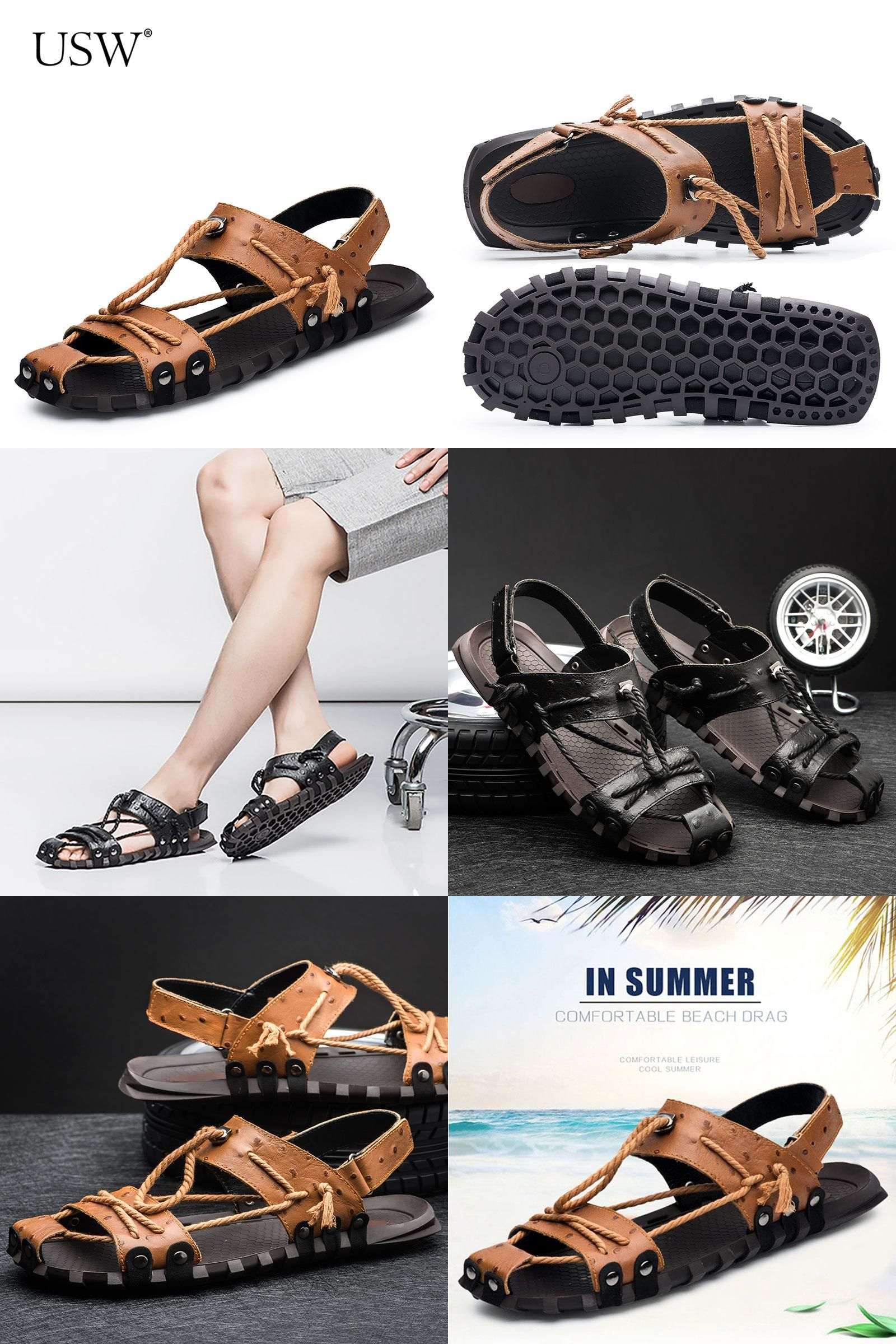 8eaffef8d2ae2a  Visit to Buy  Genuine Leather Slippers Summer Beach Sandals 2017 Fashion  Designers Brand Men