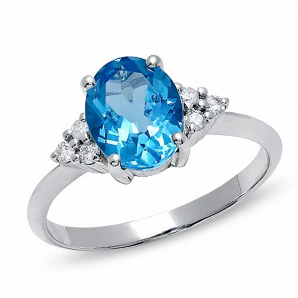 Oval Blue Topaz And Diamond Ring In 10k White Gold Blue