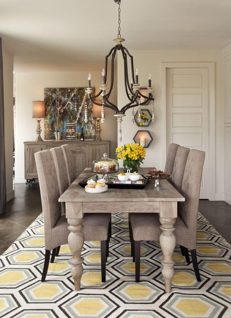 Dining Room Yellow Hexagon Rug Light Gray Wash Furniture Slate