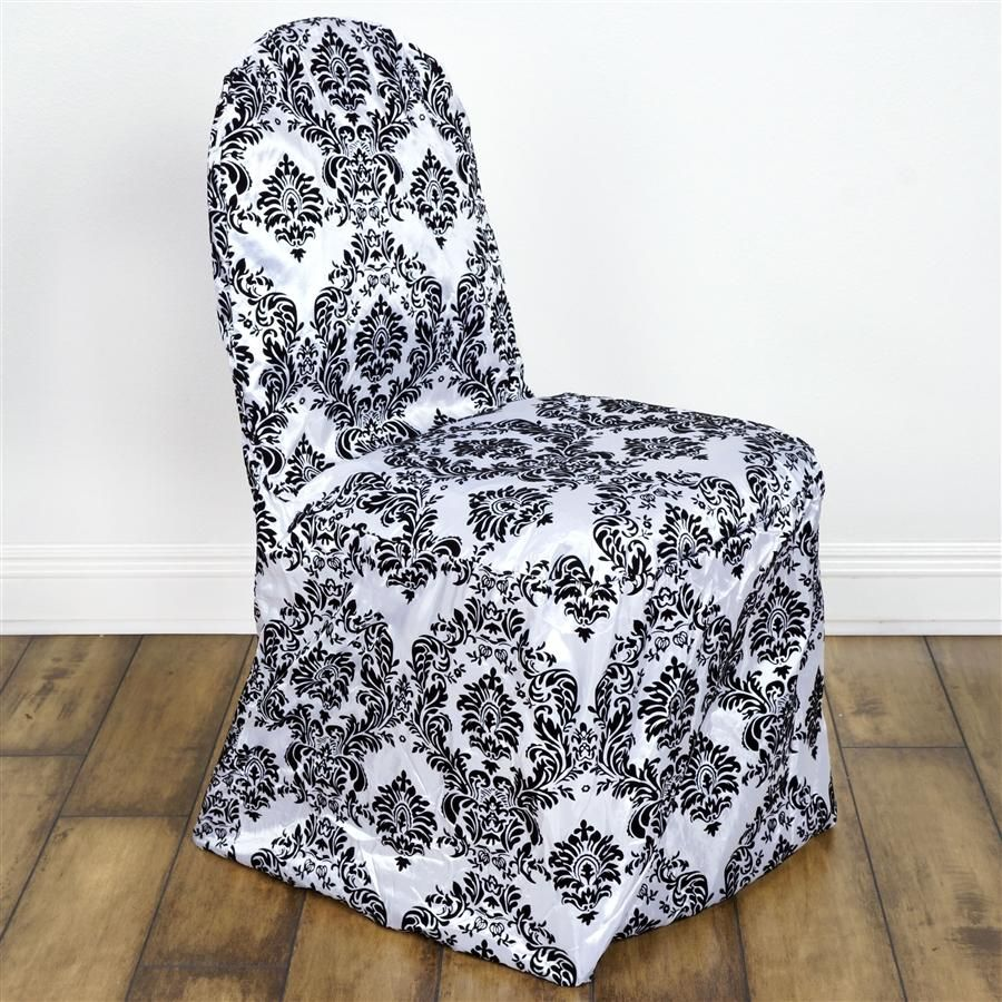 Black and white damask flocking banquet chair cover