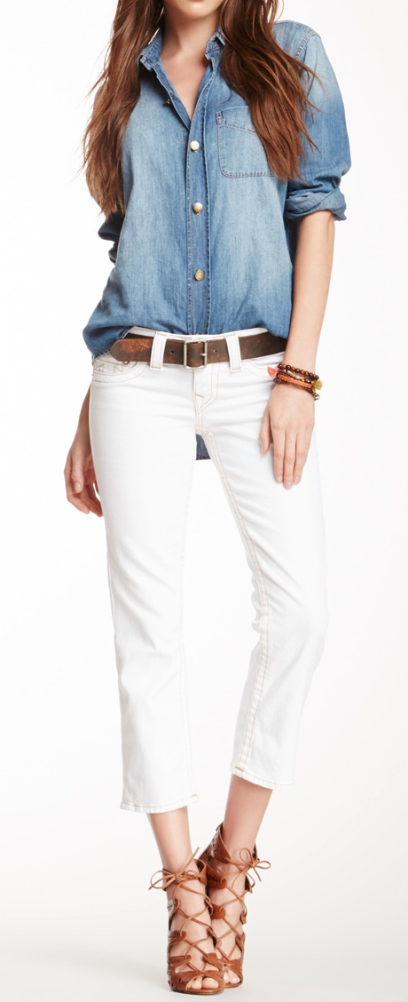 Chambray + cropped jeans