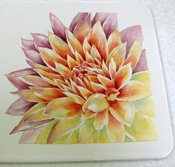 Dahlia step by step artchat porcelain art plus formerly chatty teachers artists - Dahlia dessin ...