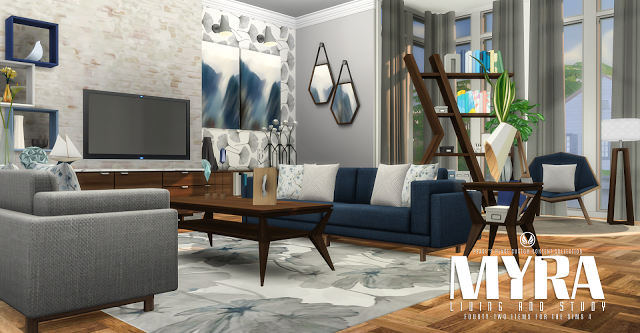 Simsational designs updated myra living sims 4 cc for Sims 4 living room ideas