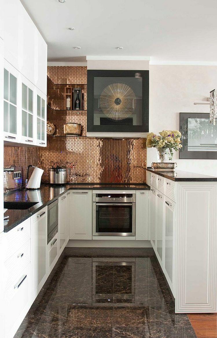 rückwand der küche fliesen-kupfer-glanz-weiß-landhaus | Küche ...