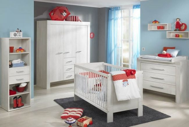 Kinderzimmer komplett weiß  babyzimmer komplett weiß rot farbkombination möbel paidi ...