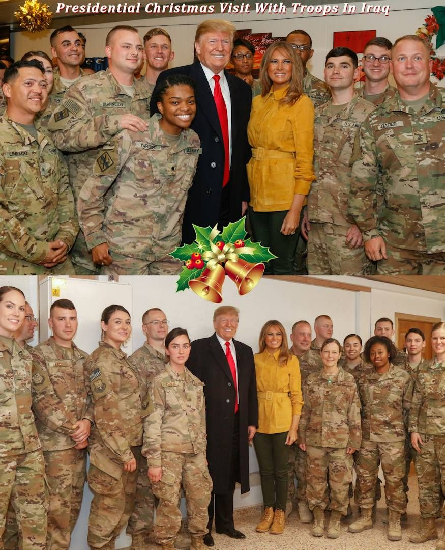 U.S. President Donald J. Trump and First Lady Melania Trump enjoy time with service members assigned to Combined Joint Task Force – Operation Inherent Resolve and Airmen supporting them at Al Asad Air Base, Iraq during their an unannounced troop visit on December 26, 2018. The Combined Joint Task Force – Operation Inherent Resolve's mission is to defeat ISIS.