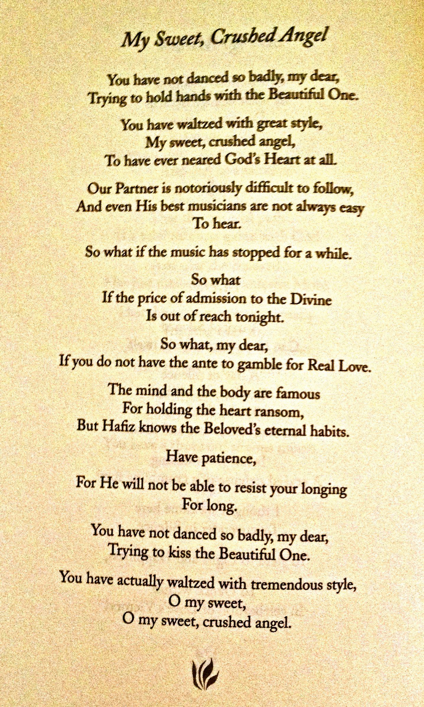 My sweet crushed angel poem hafiz hafiz pinterest for Hafiz gedichten
