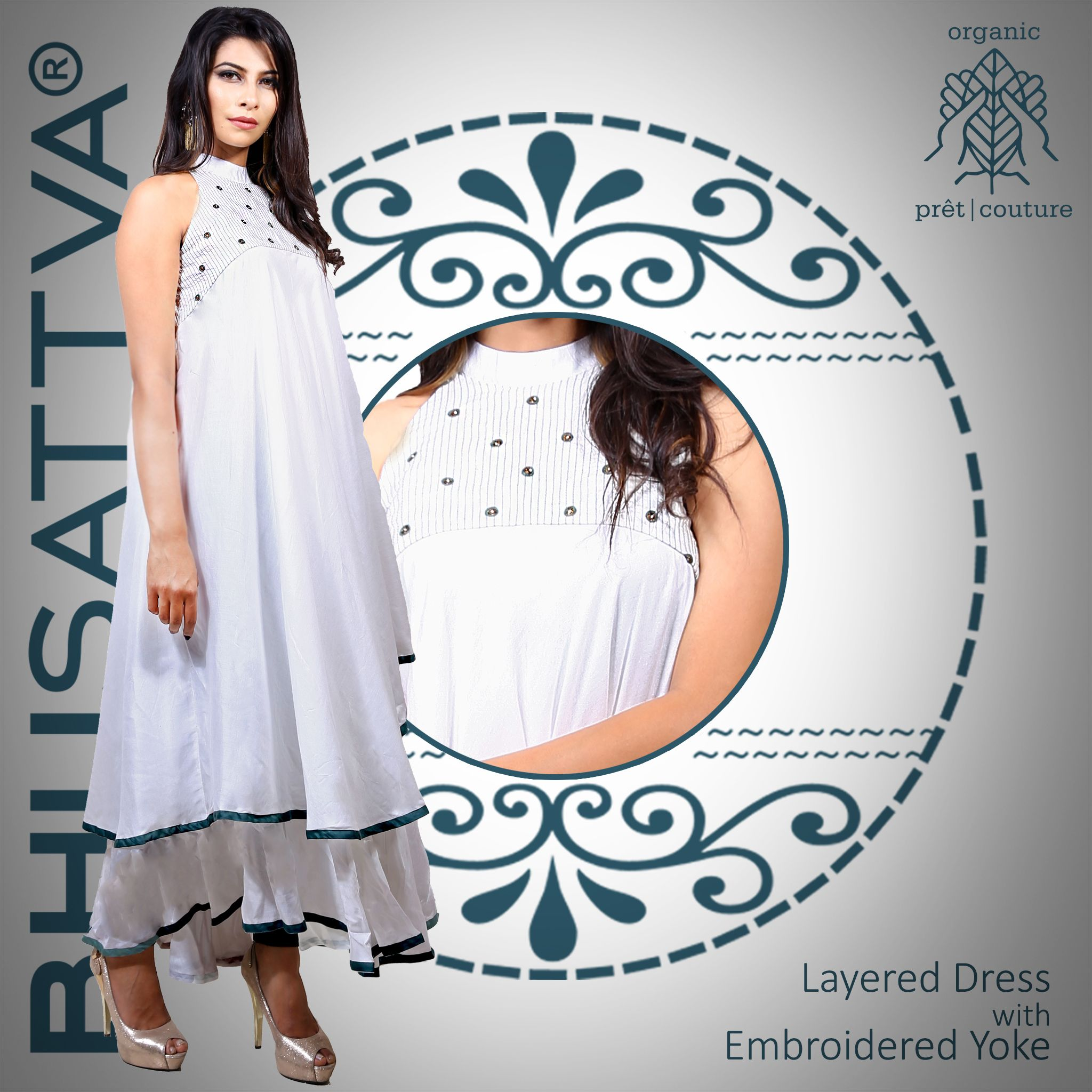 Life is in layers, live well inside them all... Embrace this elegant and classy white layered dress with embroidered yoke, from the house of #Bhusattva  #Organic #Pret #Couture #LayeredDress #White #HandEmbroidered #SkinFriendly #BreatheEasy #ReflectOrganic #RevealYourself #iWearBhusattva #BelieveWhatYouWear #TrustNature #MysticalNature #CloseToNature #OrganicIdeology #OrganicCollection #NaturalDyes #EcoFashion #OrganicFashion #SustainableFashion #GoOrganic #WearOrganic #DesignerLabel