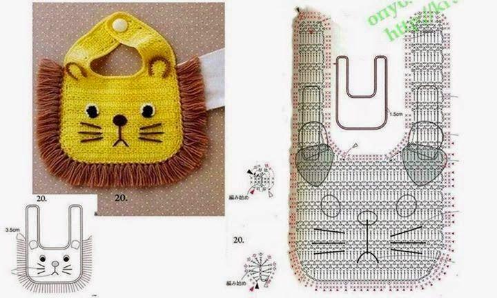 Patrón: babero de león super original para bebés   Tejido Facil ...