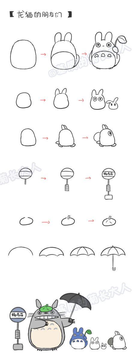 How To Draw Tototo Scene Dessiner Totoro Mini Dessin Et Tutoriel Dessin