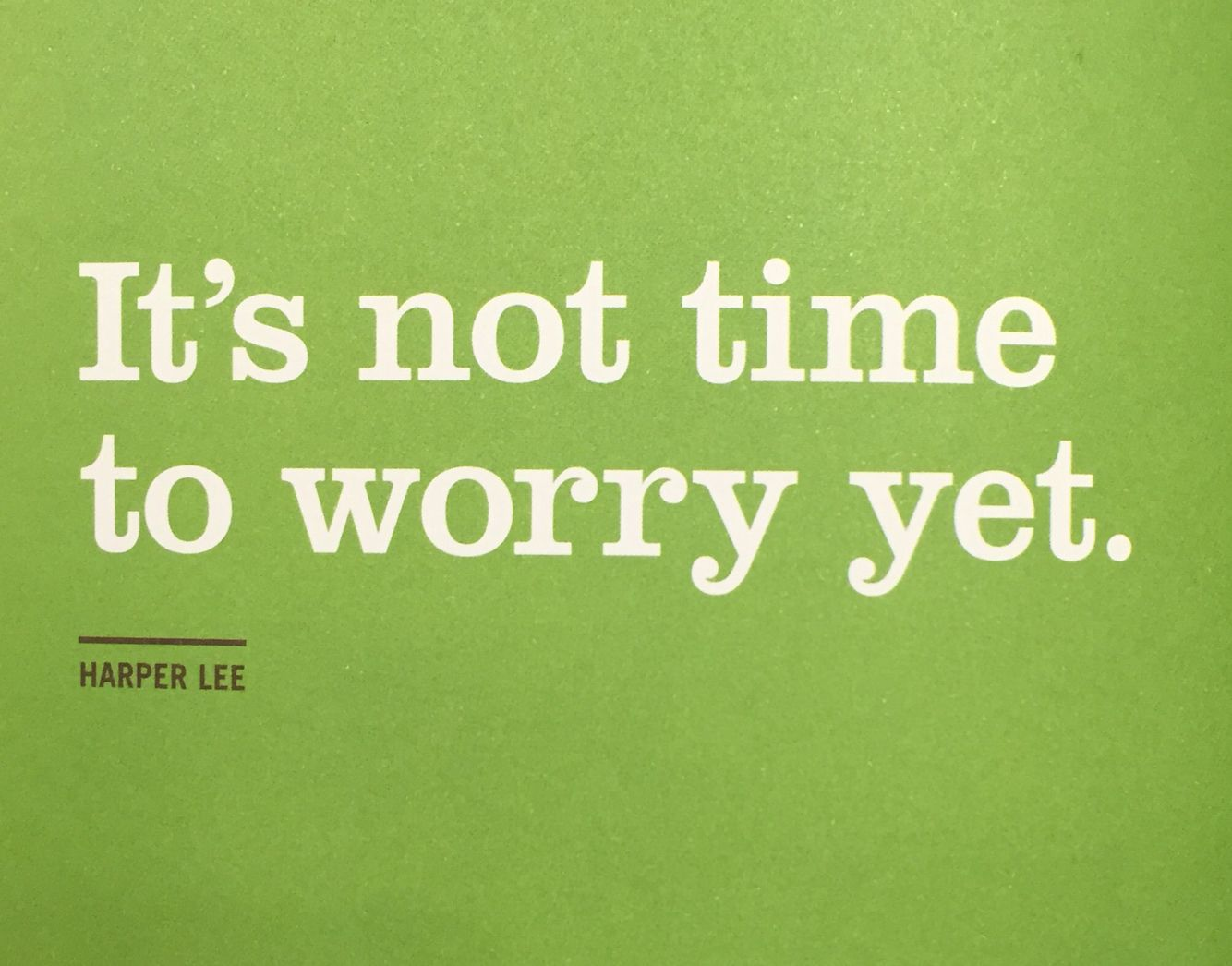 Its Not Time To Worry Yet Harper Lee Great Quotes Life