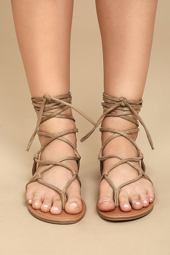 f0eb68ca40c134 Show of your sunny style in the Emilia Beige Suede Lace-Up Flat Sandals!  Starting at a toe thong upper