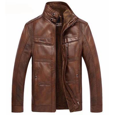 714d149cd PU Leather Jacket Men Velvet Warm Winter Motorcycle Business Casual ...