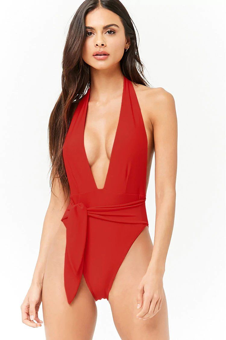 9540dfe786dce Product Name Plunging Belted One-Piece Swimsuit