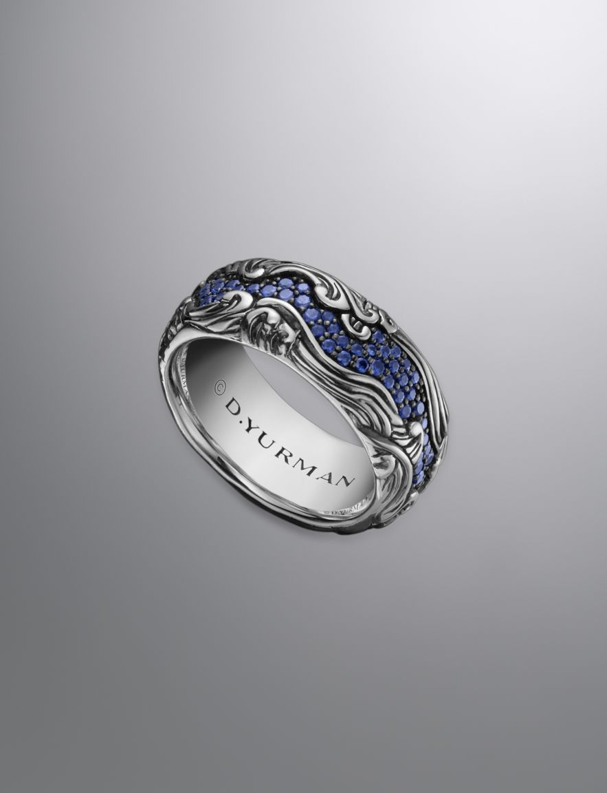 david yurman waves band ring for men sapphires silver - David Yurman Mens Wedding Rings