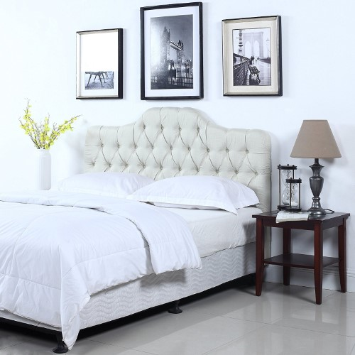 Classic Deluxe Tufted Ivory Fabric Headboard (King) Products in