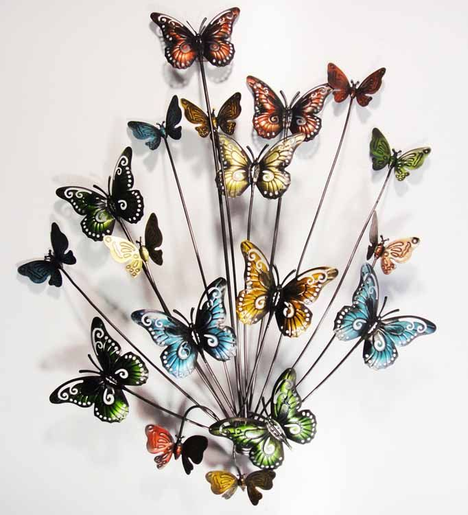 metal utterfly wall decoration | Metal Wall Art - Butterfly Explosion